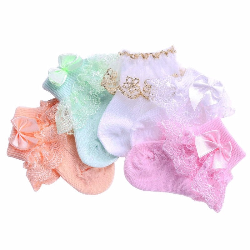 4 Pack of Baby Girls Fancy Socks: 6 Combo Options!