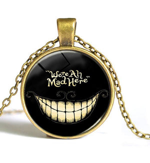 We're All Mad Here Glass Necklace - The Dragon Shop - Geek Culture