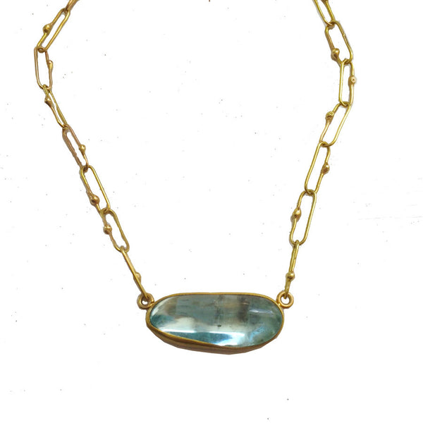 Aquamarine Theresa Necklace - 22k Bezel - 18k Paperclip Chain