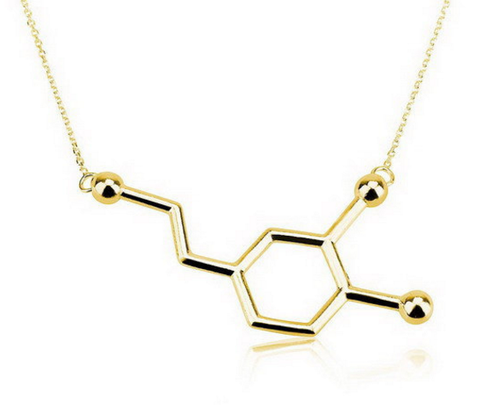 Gold Plated Dopamine Molecule Necklace
