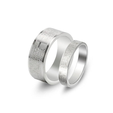 STAINLESS STEEL CROSS COUPLE'S RING