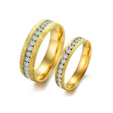 GOLD PLATED STAINLESS STEEL CRYSTAL COUPLE'S RINGS