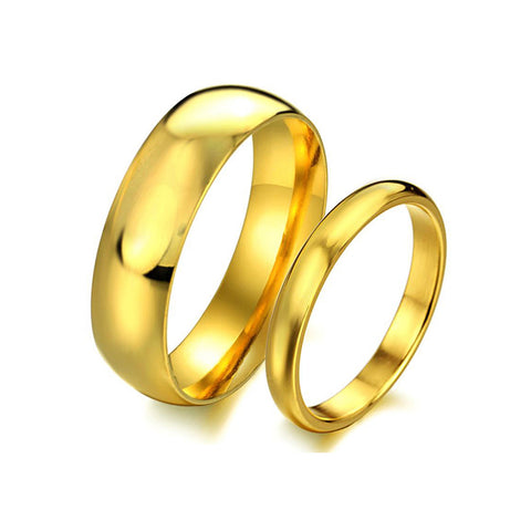 GOLD PLATED STAINELESS STEEL COUPLE'S RING