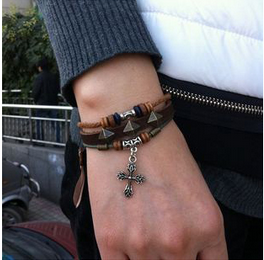 CROSS PENDANT WOOD BEAD HANDMADE LEATHER BRACELET
