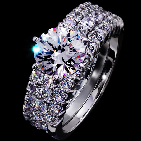 3 LAYERS CUBIC ZIRCONIA WHITE GOLD PLATED