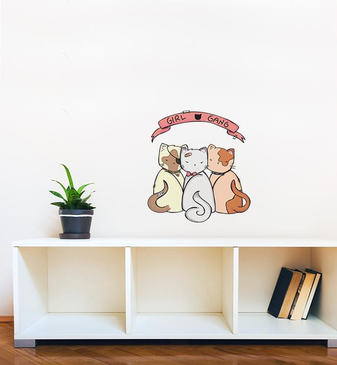 Cat Girl Gang Wall Sticker