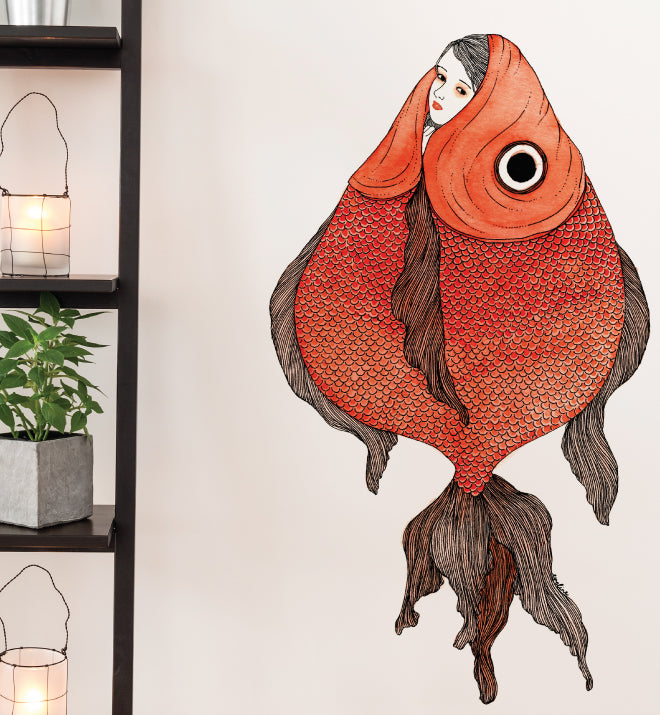 Cry Baby Fish Girl Wall Sticker