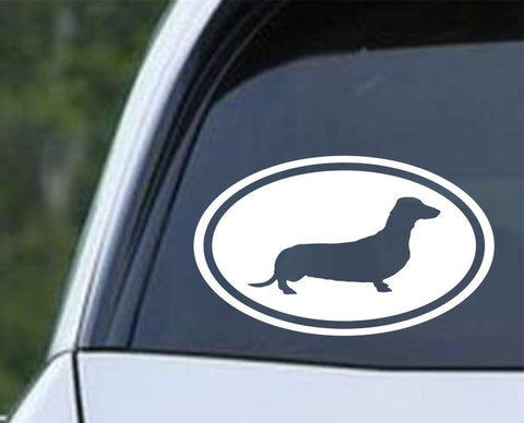 Dachshund Weiner Dog Euro Oval Die Cut Vinyl Decal Sticker