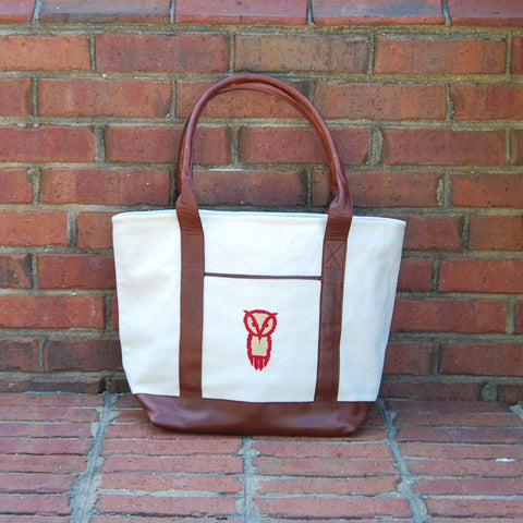 Chi Omega Owl Needlepoint Tote Bag