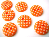 B13129 12mm Orange and White Polka Dot Glossy 2 Hole Button