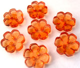 B15304 13mm Orange Clear Flower Shaped 2 Hole Button - Ribbonmoon