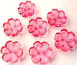 B15321 13mm Pink Clear Flower Shaped 2 Hole Button