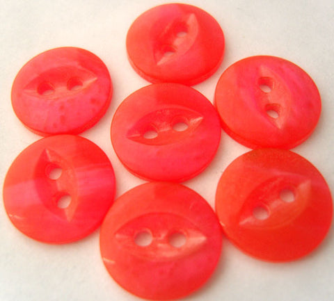 B4179 14mm Salsa and Fluorescent Pink 2 Hole Polyester Fish Eye Button - Ribbonmoon
