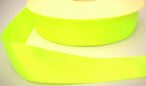 R4108 15mm Deep Fluorescent Yellow Double Face Satin Ribbon by Berisfords