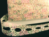 L015 37mm Pink,Cream,Mint Green, Blue Eyelet/Knitting in lace