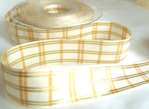 R8691 25mm Natural Regal Tartan Check Ribbon by Berisfords