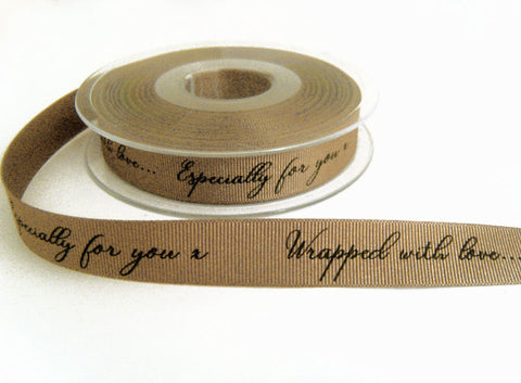 R8775 16mm Bone Beige Grosgrain Printed Ribbon by Berisfords