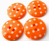 B13134 23mm Orange and White Polka Dot Glossy 2 Hole Button