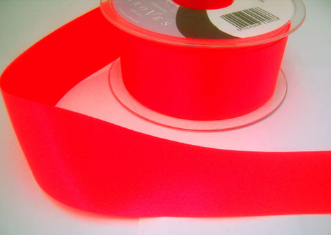 R5877 25mm Deep Fluorescent Pink Double Face Satin Ribbon, Berisfords