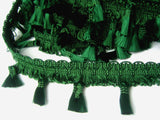 FT3116 55mm Dark Green Tassel Fringe on a Decorated Braid