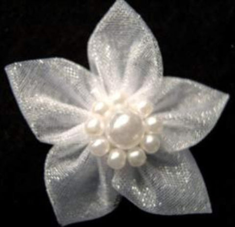RB463 White Sheer Poinsettia With Pearl Beads - Ribbonmoon
