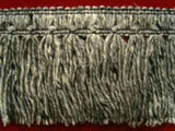 FT728 78mm Mixed Greys and Black Woolly Tassel Fringe on a Braid - Ribbonmoon
