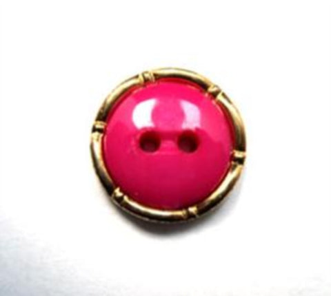 B16065 15mm Domed Shocking Pink 2 Hole Button, Gilded Gold Poly Rim - Ribbonmoon