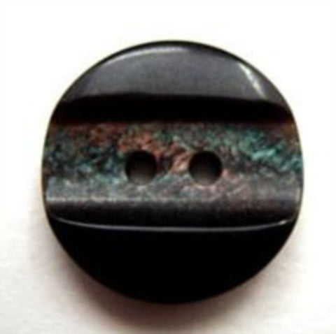 B10568 19mm Black and Iridescent Marble Effect Centre 2 Hole Button - Ribbonmoon