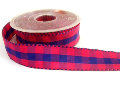 R1530 Shocking Pink and Purple Gingham Ribbon with Banded Satin Borders