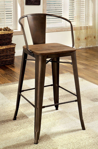 Coper Metal & Wood Counter Chair Natural Elm (Set of 2)