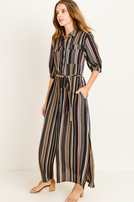Multi Colored Striped Dress w/ Side Pockets