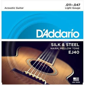 D'Addario EJ40 Silk & Steel Guitar Strings - Light Gauge .11 to .47