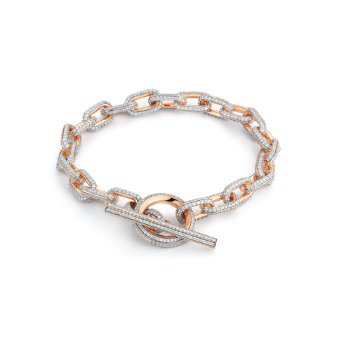 Saxon All Diamond Toggle Chain Link Bracelet