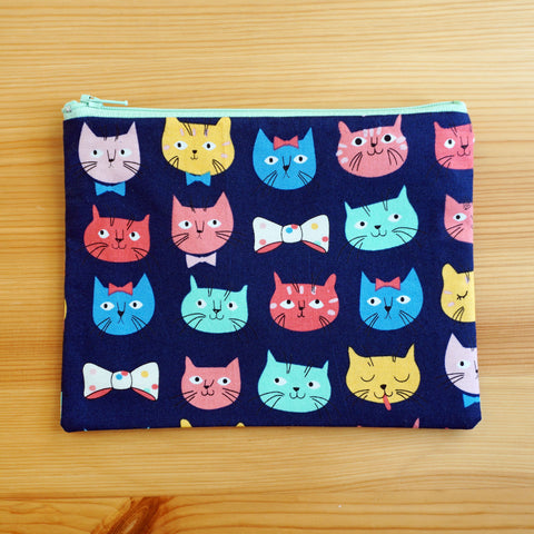 Cat Faces Zip Pouch