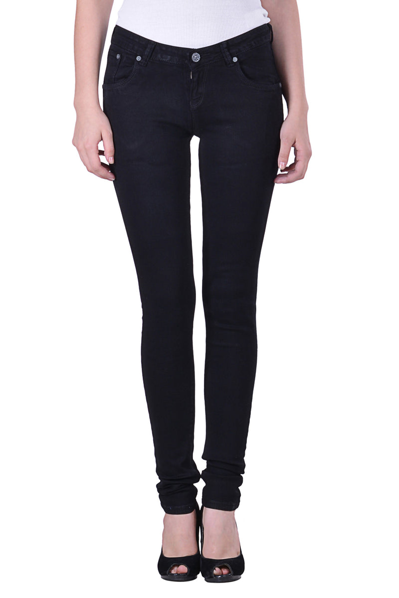 Hoffmen Slim Fit Women's Black Silky Stretch Jeans MSGS8003