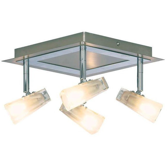 Searchlight Mondes Ceiling Spotlight Satin Silver Polished Chrome & Glass, [product_variation] - Freedom Homestore