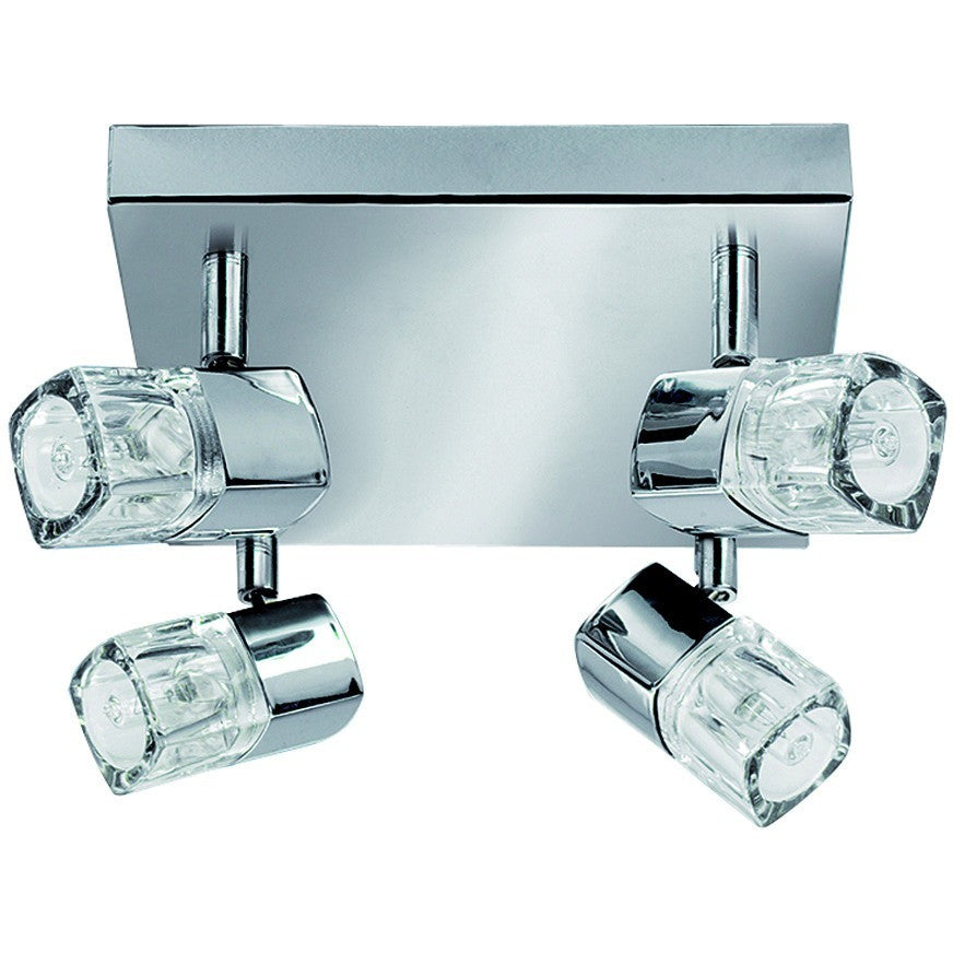 Searchlight 7884CC Blocs - 4 Light Chrome Square Spot - Ice Cube Glass Light., [product_variation] - Freedom Homestore