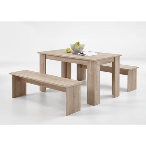"ASSEMBLY INCLUDED ""Dornum"" Kitchen Dining Table & Matching Bench Set in Washed Oak"