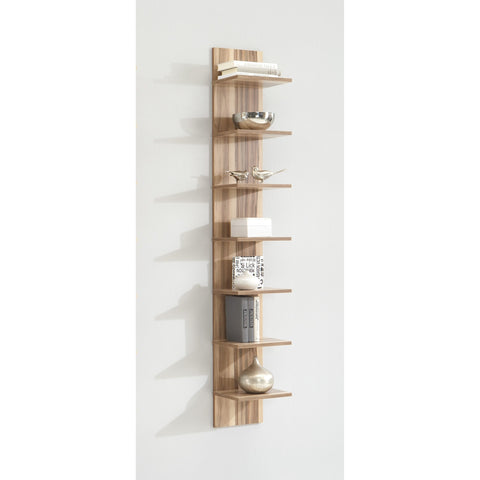 "*Clearance* ""Flip"" 7-Tier Vertical Wall Shelf Display Unit, Baltimore Walnut Finish."
