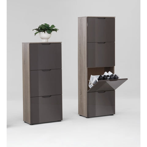 """Scarpe"" Shoe Storage Cabinet/Cupboard, Shoe Rack. Dark Oak & Gloss Lava"