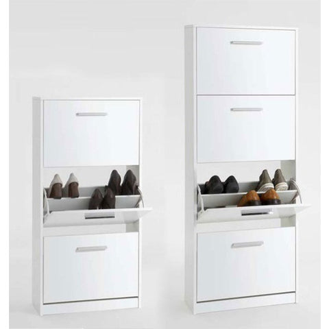 "ASSEMBLY INCLUDED ""Chic"" High Gloss White Shoe Storage Cabinet Solutions. Two Sizes."
