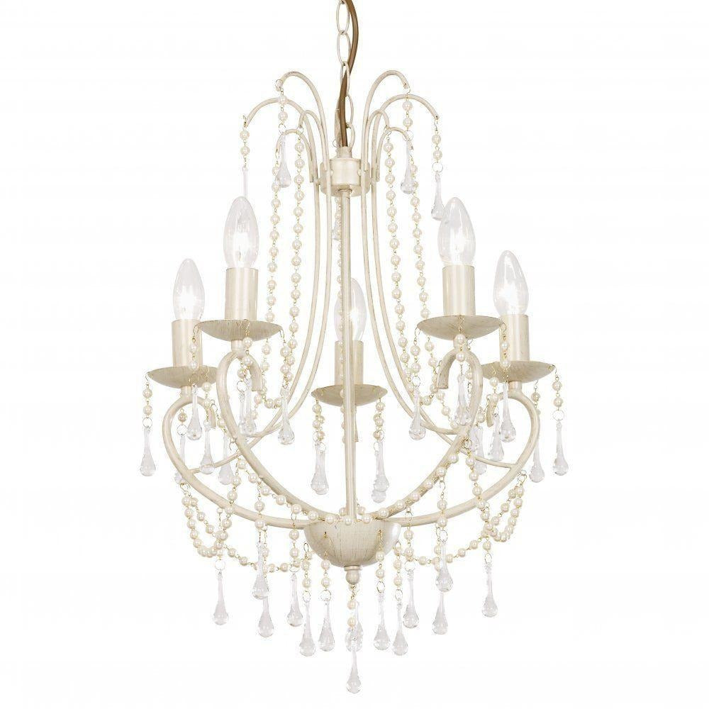 "Clearance - Endon ""Grace"" - Five Light Cream Gold Pearl & Glass Chandelier. GRACE-5CR, [product_variation] - Freedom Homestore"