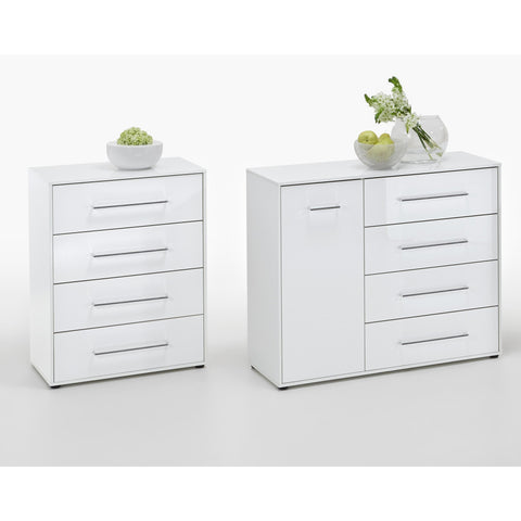 "ASSEMBLY INCLUDED ""Juli"" High Gloss White Minimalist Design Chest of Drawers / Sideboard Range"