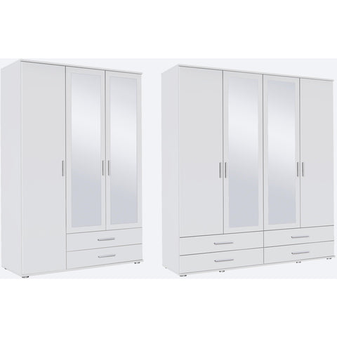 ASSEMBLY INCLUDED Rauch 'Rasant' 3 or 4 Door Wardrobe, White. German Bedroom Furniture.