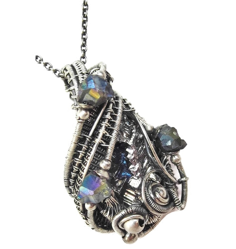 Bismuth Crystal Wire-Wrapped Pendant in Antiqued Sterling Silver with Titanium Quartz Druzies