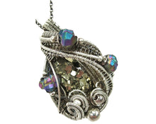 Load image into Gallery viewer, Pyrite Crystal Cluster Wire-Wrapped Pendant in Antiqued Sterling Silver with Titanium Quartz Druzy
