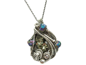 Pyrite Crystal Cluster Wire-Wrapped Pendant in Antiqued Sterling Silver with Titanium Quartz Druzy