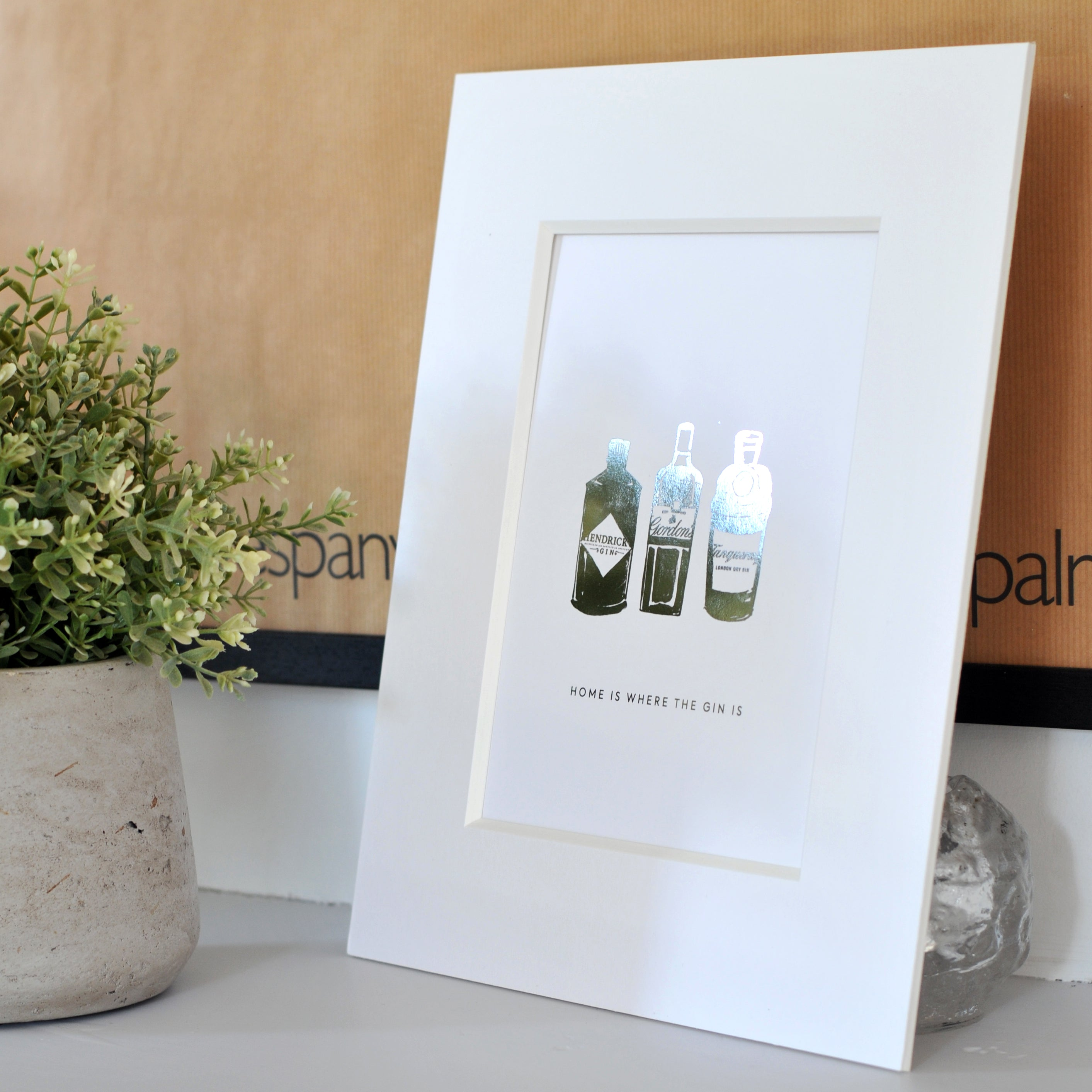 Home is where the Gin Is Mounted Print Silver Foil