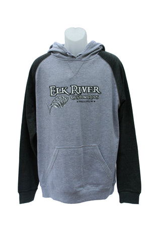 Elk River Custom Rods Lightweight Fleece Raglan Hoodie Heathered Grey/ Heathered Charcoal