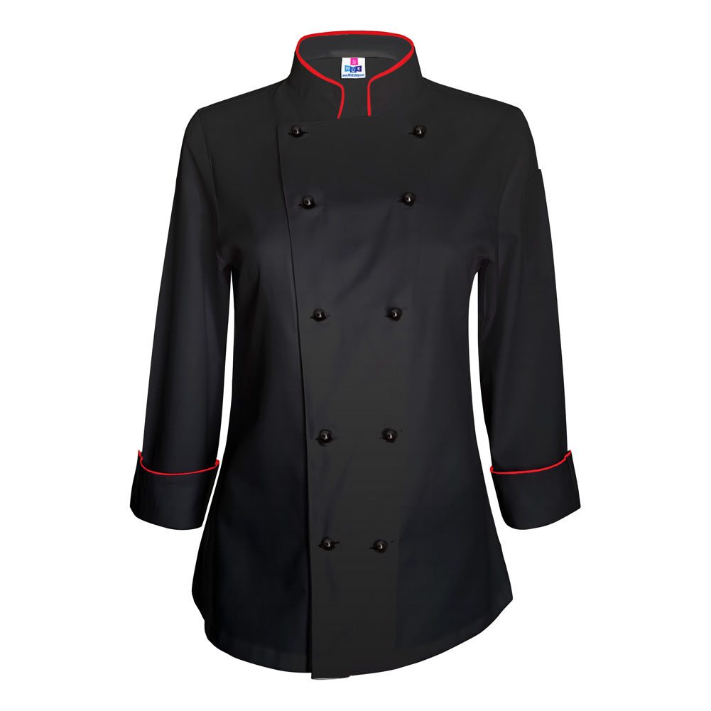 Women's Black Chef Coat - Red piping